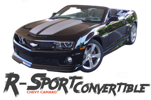 Chevy Camaro R-SPORT CONVERTIBLE Factory Style Rally Hood Racing Stripes Vinyl Graphics Kit for 2011 2012 2013 2014 2015 Models