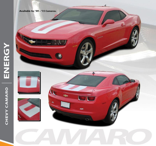 Chevy Camaro ENERGY Hood and Trunk Vinyl Graphic Decal Stripes for 2010 2011 2012 2013 2014 2015 RS LS LT V6 Models