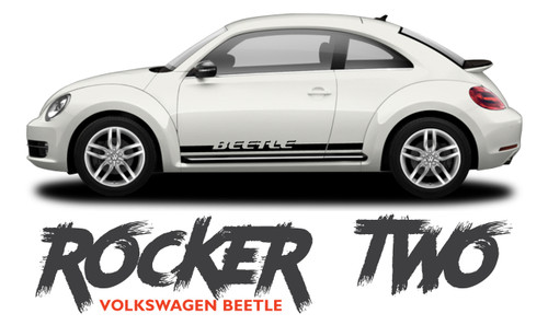 Volkswagen Beetle Lower Door Rocker Panel BEETLE ROCKER TWO Vinyl Graphics Striping Decal Kit 2012-2019