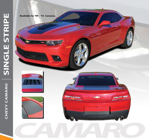 Chevy Camaro SINGLE STRIPE 14 Factory OEM Style Wide Hood Trunk Rally Graphic Vinyl Striping Kit for 2014 2015 Models