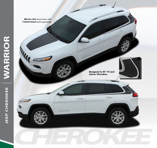 Jeep Cherokee WARRIOR Upper Body Line Door Accent Vinyl Graphics Decal Stripe Kit for 2013 2014 2015 2016 2017 2018 2019