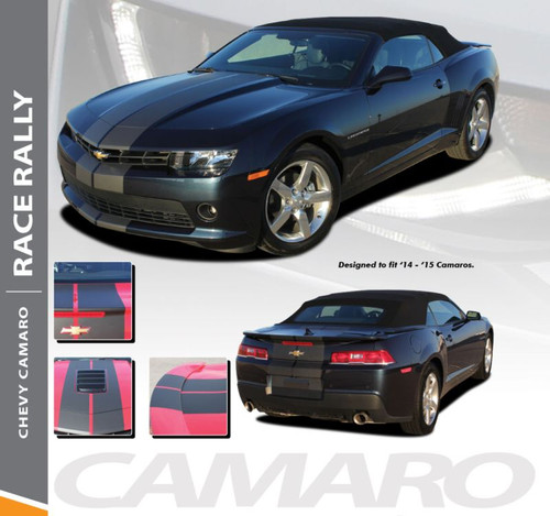 Chevy Camaro RACE RALLY Indy Style Hood Rally Vinyl Graphics Racing Stripes Kit for 2014 2015 All Models