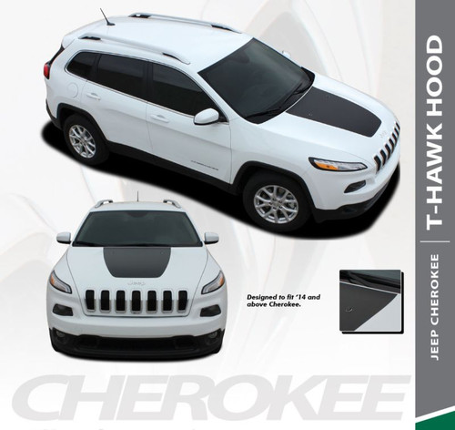 Jeep Cherokee T-HAWK Trailhawk Hood Center Blackout Vinyl Graphics Decal Stripe Kit for 2013 2014 2015 2016 2017 2018 2019
