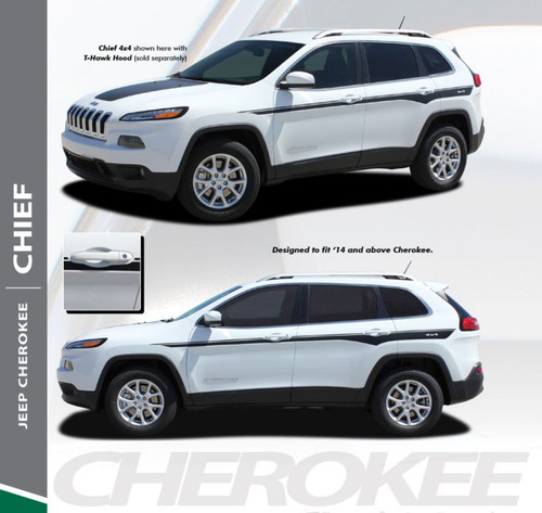 Jeep Cherokee CHIEF Upper Door Body Line Accent Vinyl Graphics Decal Stripe Kit for 2013 2014 2015 2016 2017 2018 2019