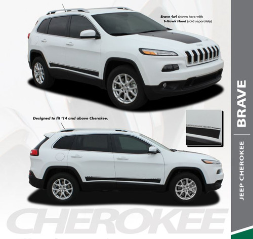 Jeep Cherokee BRAVE Lower Rocker Panel Side Door Body Vinyl Graphics Decal Stripe Kit for 2013 2014 2015 2016 2017 2018 2019