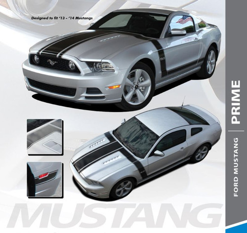 Ford Mustang PRIME ONE 302 Boss Style Center Hood Side Door Hockey Rocker Panel Body Vinyl Graphics Kit 2013 2014