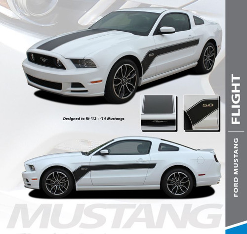 Ford Mustang FLIGHT Center Hood Side Door Hockey Stick Body Style Vinyl Graphics Stripe Decal Kit 2013 2014