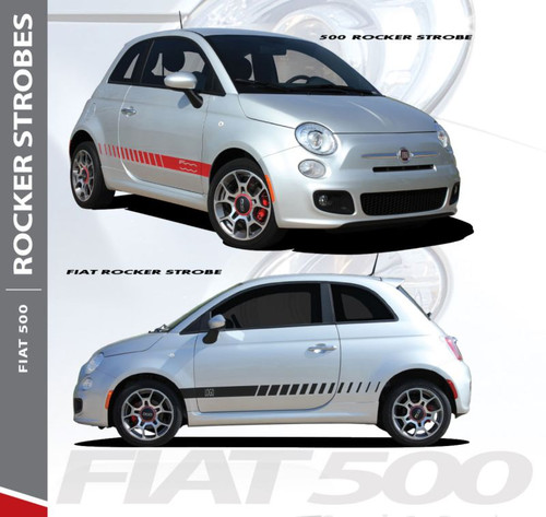Fiat 500 SE5 ROCKER STROBES Lower Body Door Accent Abarth Vinyl Graphics Stripes Decals Kit for 2007-2018 Models