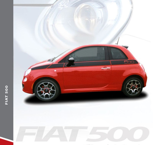Fiat 500 SE5 Upper Body Door Accent Abarth Vinyl Graphics Stripes Decals Kit for 2007-2018 Models