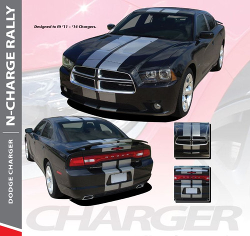 Dodge Charger N-CHARGE RALLY Racing Stripes 10 Inch Vinyl Graphics Rally Striping Decals Kit for 2011 2012 2013 2014 Models