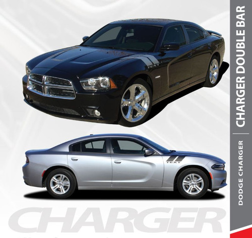 Dodge Charger RECHARGE DOUBLE BAR Hash Slash Hood Fender Vinyl Graphics Decal Striping Kit for 2011 2012 2013 2014 Models