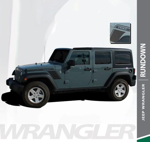Jeep Wrangler RUNDOWN Hood to Fender Side Body Vinyl Graphics Decal Stripe Kit for 2007-2017 Models