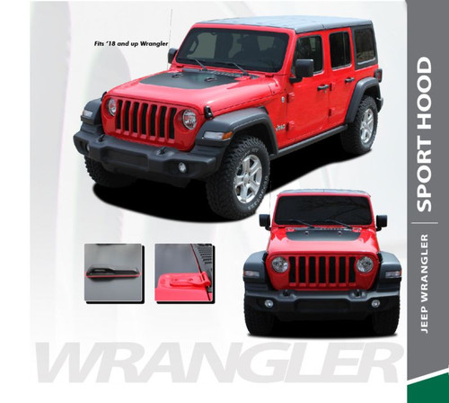 Jeep Wrangler SPORT Hood Blackout Center Vinyl Graphics Decal Stripe Kit for 2018-2020 Models