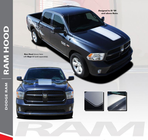 Dodge Ram HOOD Center Hood Vinyl Graphic Striping Decal Accent Kit 2009-2018 Models