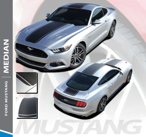 Ford Mustang MEDIAN Wide Center Lemans Style Racing Rally Stripes Vinyl Graphics Decals Kit 2015 2016 2017