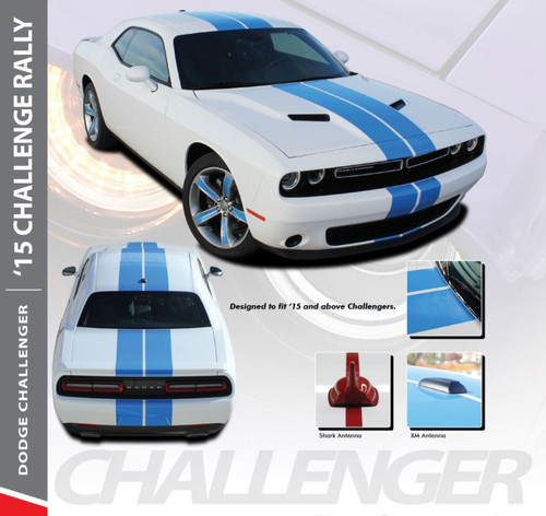 Dodge Challenger RALLY 15 Bumper to Bumper 10 inch Vinyl Graphics Racing Stripes Decals Kit 2015 2016 2017 2018 2019 2020