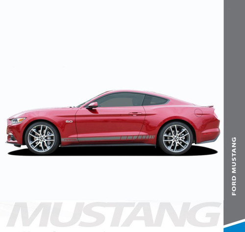 Ford Mustang STALLION ROCKER TWO Lower Door Strobe Rocker Panel Body Stripes Vinyl Graphic Decals 2015 2016 2017