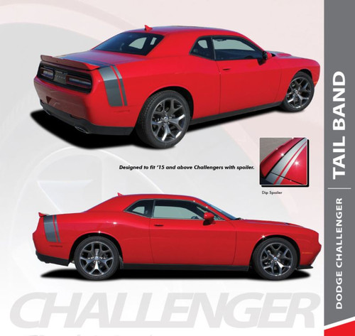 Dodge Challenger TAILBAND Scat Pack Rear Quarter Panel Trunk Vinyl Graphic Rally Stripes 2011 2012 2013 2014 2015 2016 2017 2018 2019 2020