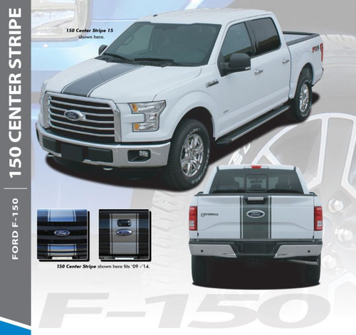 Ford F-150 CENTER STRIPE 15 Center Hood Tailgate Racing Stripes Vinyl Graphics Decals Kit for 2015 2016 2017 2018 2019