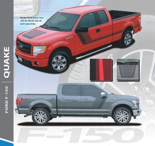 Ford F-150 QUAKE 15 Hood and Hockey Stripe Tremor FX Appearance Vinyl Graphics Decals Striping 2015 2016 2017 2018 2019