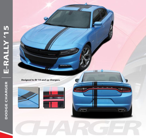 Dodge Charger EURO RALLY Offset Racing Stripes Bumper Roof Hood Vinyl Graphics Decal Stripe Kit for 2015 2016 2017 2018 2019