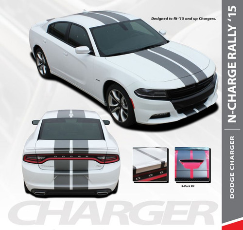 Dodge Charger N-CHARGE RALLY 10 inch Racing Stripe Rally Hood Vinyl Graphics Decal Stripe Kit for 2015 2016 2017 2018 2019