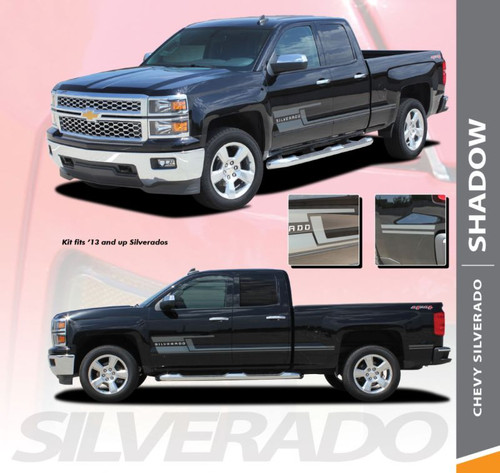 Chevy Silverado Rocker Stripes SHADOW Vinyl Graphic Decal Lower Body Accent Kit for 2014 2015 2016 2017 2018