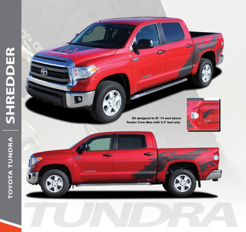 Toyota Tundra SHREDDER Crew Max 5.5 ft Short Bed Vinyl Graphic Striping Decal Kit for 2014 2015 2016 2017 2018