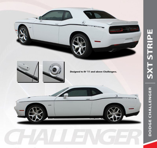 Dodge Challenger SXT SIDE STRIPE Factory OEM Side Door Body Vinyl Graphic Stripes 2011 2012 2013 2014 2015 2016 2017 2018 2019 2020