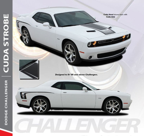 Dodge Challenger Factory OEM Style CUDA STROBE COMBO Strobe Hood and Side Vinyl Graphic Decal Stripes Kit 2008-2020