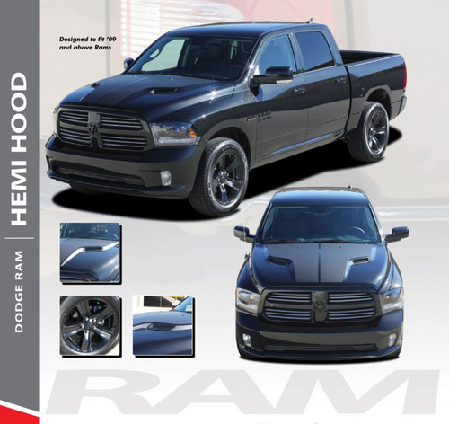 Dodge Ram HEMI HOOD Split Hood Center Accent Vinyl Graphics Decal Stripe Kit 2009-2018 Models