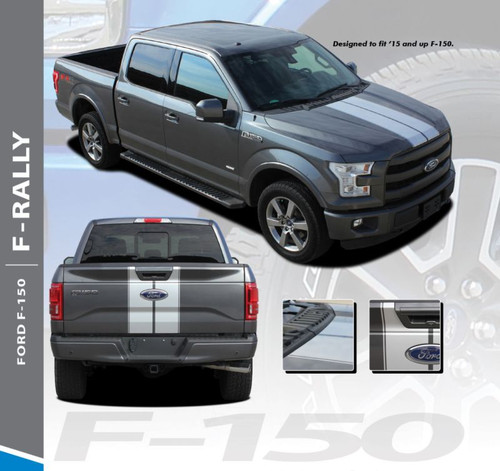 Ford F-150 F-RALLY Split Center Hood Tailgate Racing Stripes Vinyl Graphics Decals Kit for 2015 2016 2017 2018 2019