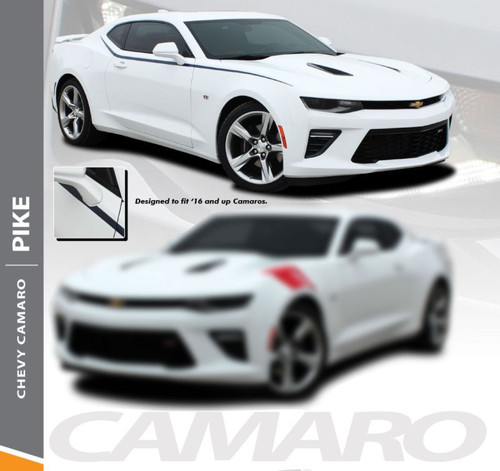 Chevy Camaro PIKE Upper Door to Fender Accent Vinyl Graphics Decals Kit 2016 2017 2018 fits SS RS V6 Models