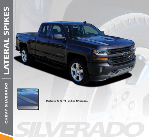 Chevy Silverado Hood Stripes LATERAL SPIKES Spears Accent Spikes Vinyl Graphic Decal Kit for 2016 2017 2018