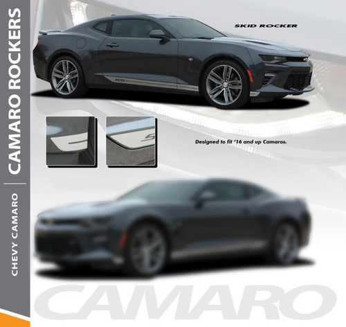 Chevy Camaro SKID ROCKERS Lower Rocker Panel Door Stripes Vinyl Graphics and Decals Kit for 2016 2017 2018 All Models