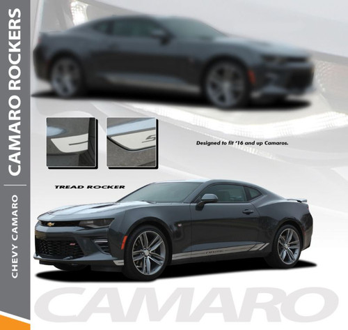 Chevy Camaro TREAD ROCKERS Lower Rocker Panel Door Stripes Vinyl Graphics and Decals Kit for 2016 2017 2018 All Models
