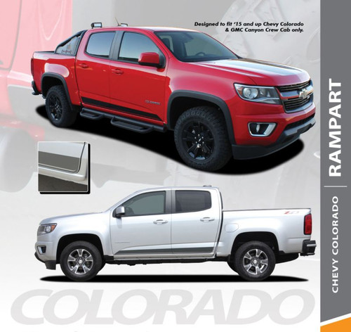 Chevy Colorado RAMPART Lower Rocker Door Panel Body Accent Vinyl Graphic Decal Stripe Kit 2015 2016 2017 2018 2019