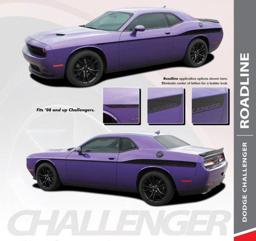 Dodge Challenger ROADLINE Wide Upper Door Body Accent Decals Vinyl Graphics Side Stripes for 2008-2020 Models