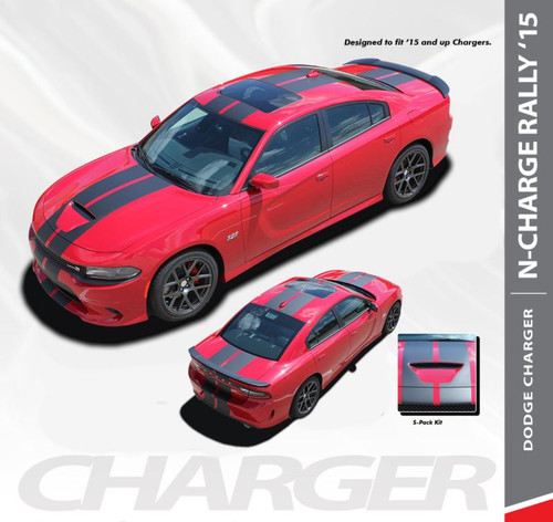 Dodge Charger N-CHARGE S-PACK R/T Scat Pack SRT 392 Hellcat Racing Stripe Rally Hood Vinyl Graphics Decals 2015 2016 2017 2018 2019