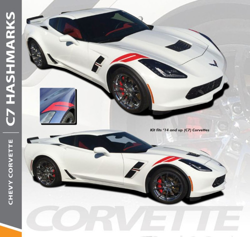 Chevy Corvette C7 HASH MARKS Double Bar Hood Fender Stripes Vinyl Graphic Decals Kit for 2014 2015 2016 2017 2018 2019