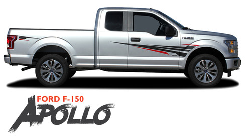 Ford F-150 APOLLO ACCENT Side Door Splash Design Rally Stripes Vinyl Graphics Decals Kit for 2015 2016 2017 2018 2019