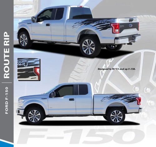 Ford F-150 RODE RIP Mudslinger Side Truck Bed 4X4 Rally Stripes Vinyl Graphics Decals Kit for 2015 2016 2017 2018 2019