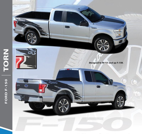 Ford F-150 TORN Mudslinger Side Truck Bed 4X4 Rally Stripes Vinyl Graphics Decals Kit for 2015 2016 2017 2018 2019