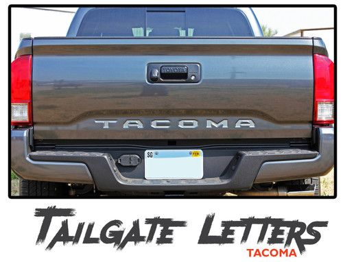 Toyota Tacoma Tailgate TEXT Letters Lettering Accent Trim Vinyl Graphic Striping Decal Kit 2015-2019