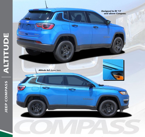 Jeep Compass ALTITUDE Upper Door Body Line Accent Vinyl Graphics Decal Stripe Kit for 2017 2018 2019