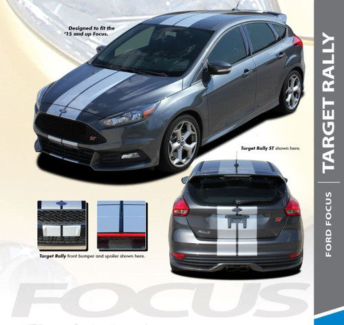 Ford Focus TARGET RALLY Bumper to Bumper Racing Stripes Vinyl Graphics Decal Kit 2016 2017 2018