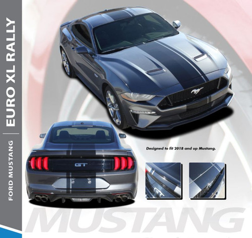Ford Mustang Racing Stripes EURO XL RALLY Center Hood Roof Trunk Racing Rally Stripes Vinyl Graphics Decals Kit 2018 2019