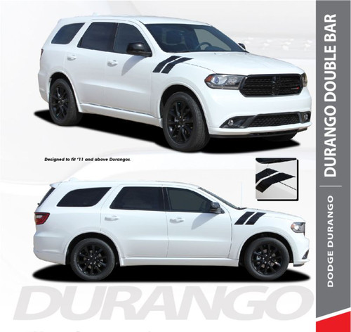 Dodge Durango DOUBLE BAR Hood Hash Marks Slash Stripes Decals Vinyl Graphics Kit 2011-2019 Models