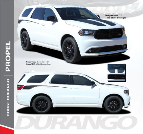 Dodge Durango PROPEL HOOD Dual Double Stripes Decals Vinyl Graphics Kit 2011-2019 Models