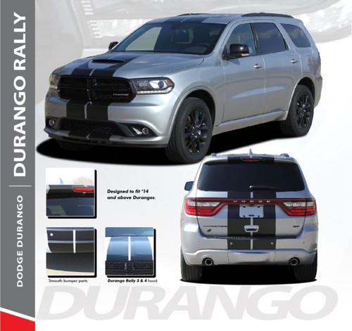 Dodge Durango RALLY Dual Racing Stripes Decals Vinyl Graphics Kit 2014-2019 Models